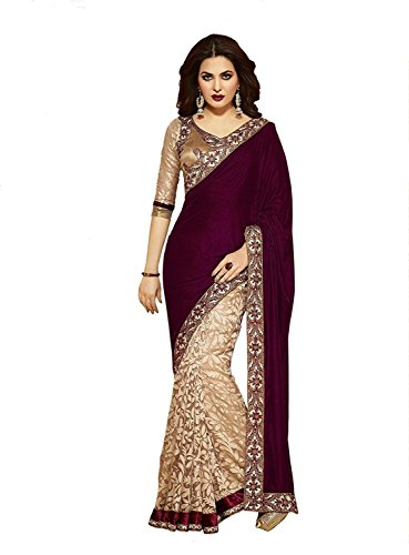 Janasya Women's Brasso & Net Saree (JNE0641.D _Multi-Coloured)  available at amazon for Rs.699