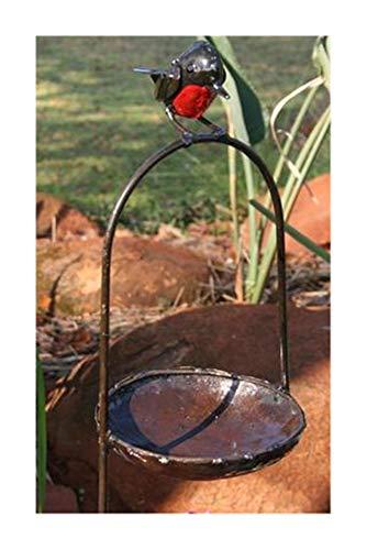 Galleria fotografica Farm and Garden Delizioso RSPB metal Robin rosso su un arco uccello bagno o feeder–parte della gamma di mano artigianale Tilnar commercio equo e solidale