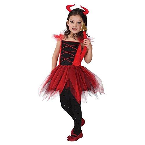 Talla XL - 7-8 años - Traje - Disfraz - Carnaval - Halloween - Diablo - Demonio - Infernal - Rojo - Niña