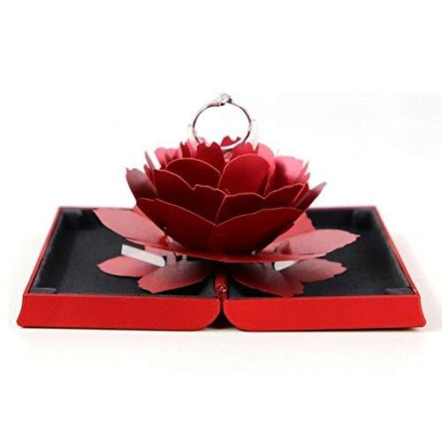 Leobtain Aufbewahrungskiste Falten rotierende Rose Ring Box Schmuck Lager Fall Unique Rose Hochzeit Engagement Geburtstag Valentinstag Überraschung Geschenkbox