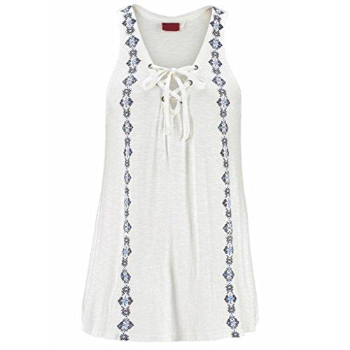 TWIFER Frauen Sommer Print V-Ausschnitt ärmellose Träger Weste Shirt Tank Tops Bluse T-Shirt(2XL/42,Weiß)