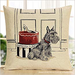 WENEOO LA Space Editor(TM) Grey Schnauzer with High Heels Red Gift Box Door Style Beige Polyester Cotton Decorative Blend Square Throw Pillow Cushion Case Cover (18