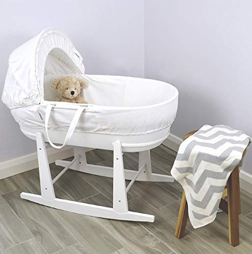 Shnuggle Moses Basket with White Waffle Cotton Dressing, Hood and Mattress - White Basket  Shnuggle Classic Moses Basket with stay up hood Hypoallergenic and easy to clean Super strong and long lasting 5
