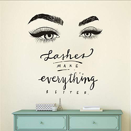 Lkfqjd Wimpern Auge Wandtattoo Beauty Salon Decor Wimpern Machen Alles Besser Zitat Wandbild Vinyl Wimpern Augenbraue Aufkleber105 * 111Cm
