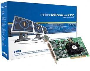 Matrox Millenium P750 Grafikkarte 64MB DDR AGP Retail RoHs 256 Bit RGB Out, DVI Out VGA