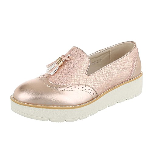Slipper Damenschuhe Low-Top Moderne Ital-Design Halbschuhe Rosa Gold
