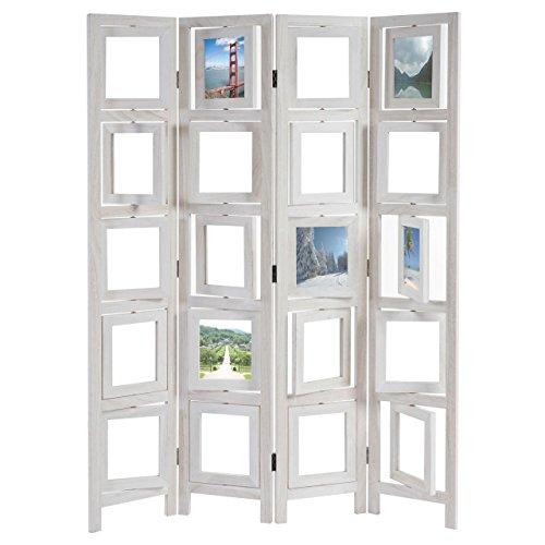 Paravent Fotogalerie II, Raumteiler Trennwand Sichtschutz Foto-Paravent, 160x125cm ~ weiß