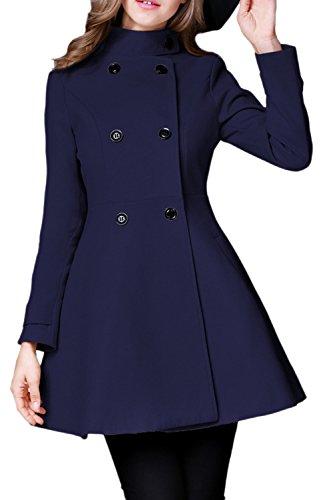 Le Donne Inverno Solido Stile Britannico A Doppio Petto Tweed Coat Outwear Darkblue