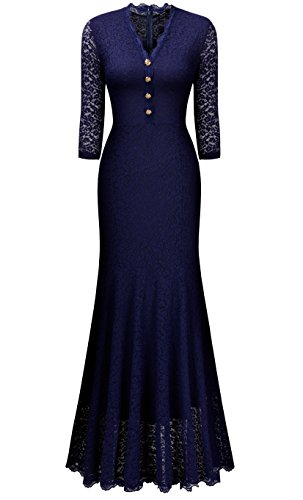 Miusol Elegante Damen 3/4 Arm V-Ausschnitt Spitzen Brautkleid Festliches Kn?pfe Cocktailkleid Langes Abendkleid Navy Blau Gr.S -