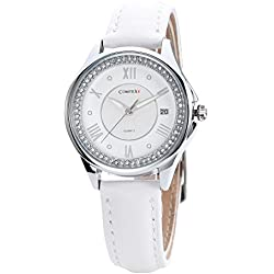 Comtex New Arrival Girl's Watch with White Dial Analogue Display White Leather Calendar