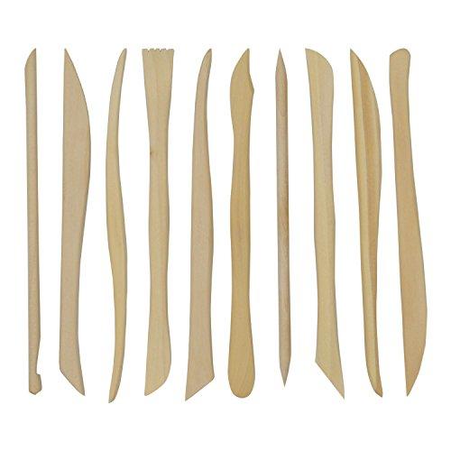 Trixes Set mit 10 hölzernen Werkzeugen zum Töpfern und Modellieren Ton Gestaltung Bildhauerei