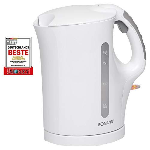 Bomann weiß WK 5011 CB Wasserkocher, 1,7 L, 2 außenliegende Wasserstandsanzeigen, Edelstahlheizelement, Kunststoff, 1.7 liters