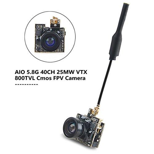 FPV Cámara Micro AIO Camara FPV 5.8G VTX 40CH 800TVL vídeo Transmisor de con Antena para 50-100mm FPV Interior Drone Quadcopter de HankerMall