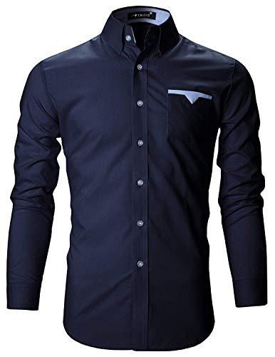 FINIVO FASHION Men's Cotton Casual Shirt (Navy Blue, 42)