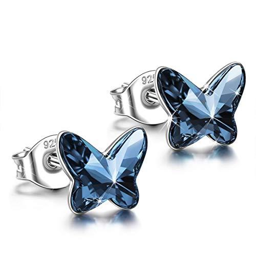 ANGEL NINA Amor Libre Mariposa Plata de Ley 925 Mujeres Aretes Pendientes con Cristales SwarovskiPlatino Plateado Grabado con Feliz cumpleaños Curb 40cm AN2-W0304-5956SW0304-B01