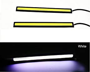 Casago CSDRLW2 Ultra Bright Daytime Running LED Light Waterproof Slim COB LEDs Strip Lights for Bikes Cars and Motorcycle (6W, White)