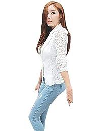 e22431318 Blazer Mujer Manga Larga De Solapa Splice Encaje Camisa Elegantes Moda Slim  Fit Ocasional Negocios Clásico