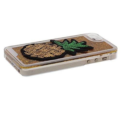 Dur Transparent iPhone 5S étui de Protection, Coque iPhone 5 5S SE Antichoc, Liquid type Écoulement Poudre d'Or Ananas Apparence Conception Or