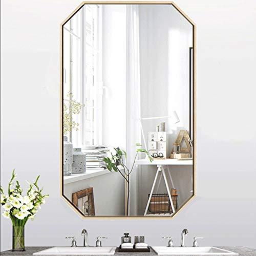 Espejo Baño Maquillaje Rectángulo 40X60CM Plata Vaso Metal Marco Sencillo Moderno Kit Completo Decorativo...