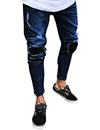 FIRSS Männer Patchwork Jeanshosen   Reißverschluss Jeans   Destroyed Hose    Ausgefranste Freizeithose   Regular-Fit Sweatpants  … b7519c9961