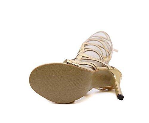 save off 3d8f6 fe614 Eu Sandalen Hohl Größe Ultra-high-heeled Kniehohe Kühle Gold ...