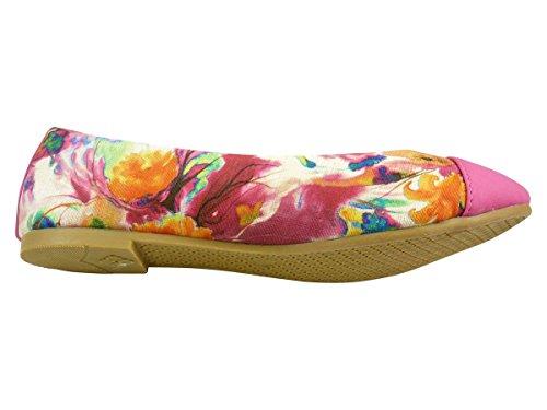 Ballerinas aus Stoff Blumen, Schuhe Frauen Flache Fuchsia