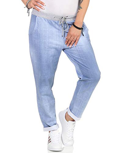 ZARMEXX Damen Sweatpants Baggy Boyfriend Sommerhose Sport All-Over Print One Size Muster 12 One Size (40-44)