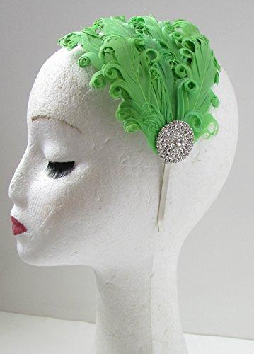 Vert & Argent Vintage Plume Bandeau Bandeau Flapper ANNÉES Gatsby 44 * * * * * * * * exclusivement vendu par – Beauté * * * * * * * *
