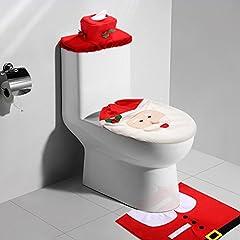 Idea Regalo - Kranich Decorazioni Natale WC Set 3 Babbo Sedile WC Coperchio e Tappeto & Scatola del Tessuto