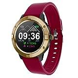 RanGuo Smartwatch für Herren Damen Kinder, Sports Bluetooth Intelligente Armbanduhr Fitness Armband für Android und ios System, Support-Anruferinnerung und Nachrichtenerinnerung (Silikonband, Rot)