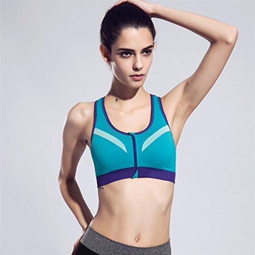 Soutien-gorge de sport Zip Front Racerback pour femmes HENWS Support complet à impact élevé pour la forme physique d'entraînement Blue