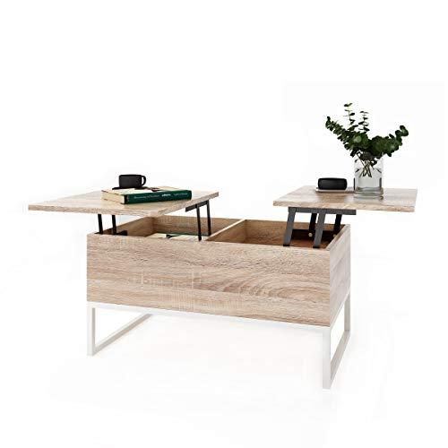 ease Couchtisch mit Höhenverstellbar Wohnzimmertisch Funktionaler Design Couchtisch mit Stauraum und Ablage für Büro, Küche, Wohnzimmer
