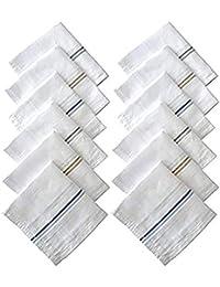 DAZZAL Antibacterial Men's Cotton Handkerchief for Men Pack of 12 (White Free Size)