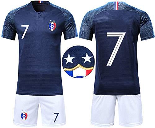 db25f23a5c1a3 OUJD Ensemble de T-Shirt Maillots de Football Enfant France 2 étoiles  Champion Enfant Ensemble