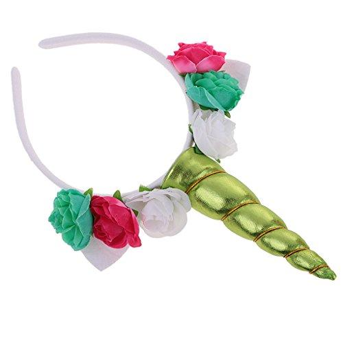 Blesiya cerchietti fiori artificiali orecchio corno unicorno fascia per cappelli cosplay costume per carnevale halloween - verde