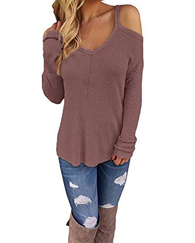 CNFIO Sexy Schulterfrei Oberteil Damen Sommer Shirt Off Shoulder Pullover für Damen Top Strickpullover V-Ausschnitt C-Rosa EU42