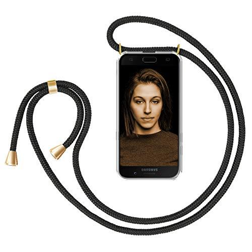 ZhinkArts Handykette kompatibel mit Samsung Galaxy A5 2017 - Smartphone Necklace Hülle mit Band - Schnur mit Case zum umhängen in Schwarz - Gold
