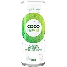 Coco Fuzion 100 Percent Sparkling Natural Coconut Water, 250 ml, Pack of 6