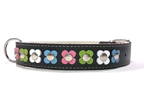 Superpipapo Handgemacht Schwarz Leder Hundehalsband für Mittelgrosse und Grosse Hunde, Vintage Design Floral mit Verschiedenen Pastel Farben Blumen, 60 cm: XX - Halsumfang 45-50 cm - Breit 28mm