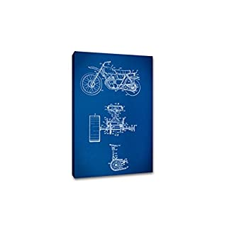 ArtsyCanvas Old Motorcycle Gearhead Blueprint Art (Canvas), 30 x 20