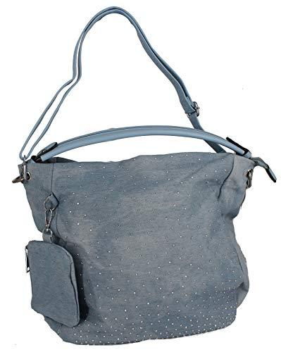 Jeans Tasche Shopper Hobo Bag Schultertasche Umhängetasche Beuteltasche Denim verschiedene Modelle präsentiert von RabamtaGO® (M1 hellblau) - Strass Besetzte Jeans