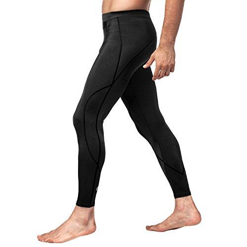 Lapasa Maillot de Compression & Pantalon de Compression Homme Haut T-Shirt Chemise Manches Longues Bas Pantalon de Sport Fitness Musculation - Seconde Peau (L, Noir (Pantalon sans Maillot))