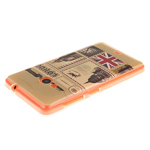 Microsoft Lumia 535 hülle MCHSHOP Ultra Slim Skin Gel TPU hülle weiche weiche Silicone Silikon Schutzhülle Case für Microsoft Lumia 535 - 1 Kostenlose Stylus (bunte ständigen eule mit grünen blättern  Briefpapier und Umschläge Stempel (Letter Paper and En