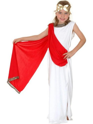 Girls Roman Greek Caesar Goddess Toga Emperor Fancy Dress Costume 4-12 yr LARGE by Star55