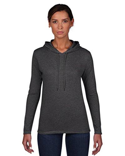 Anvil women ´ s fashion 887L basic t-shirt à manches longues à capuche Gris - Heather Dark Grey