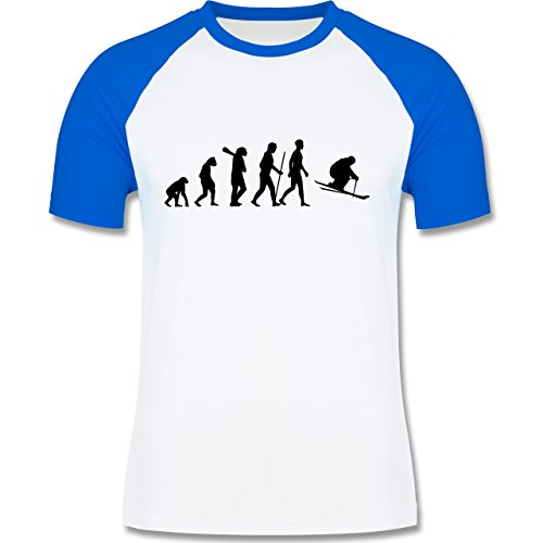 Shirtracer Evolution - Skiabfahrt Evolution - Herren Baseball Shirt Weiß/Royalblau