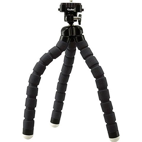 Rollei Monkey Pod - Mini Trípode flexible/compacto y ajustable con cabeza esférica, color negro