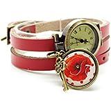 montre cuir bracelet 3 liens cabochon bronze illustré vintage, ofleur, coquelicot, rouge