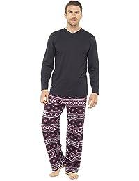 Mens Warm Jersey Top   Fleece Bottoms Pyjama nightwear pajama lounge wear 196d736c4