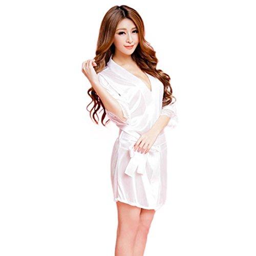 Zolimx Frauen Fischnetz Sheer Open Crotch Body Strumpf Bodysuit Dessous (Weiß / Bademantel) (Knie-hohe Strümpfe Schiere)